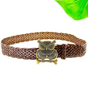 Delia's Owl Leather Belt Brown Braided Gold Buckle